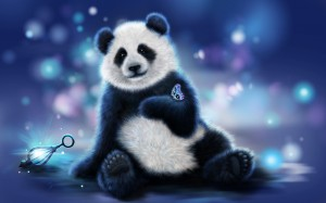 2017Drawn_wallpapers_Painted_panda_bear_with_a_butterfly_on_its_paw_120646_